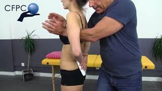 Ostéopathie structurelle : lift lombo-sacré avec patient debout